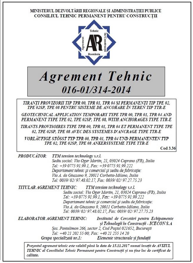 AGREMENT TECHNIC 016-01-314-2014