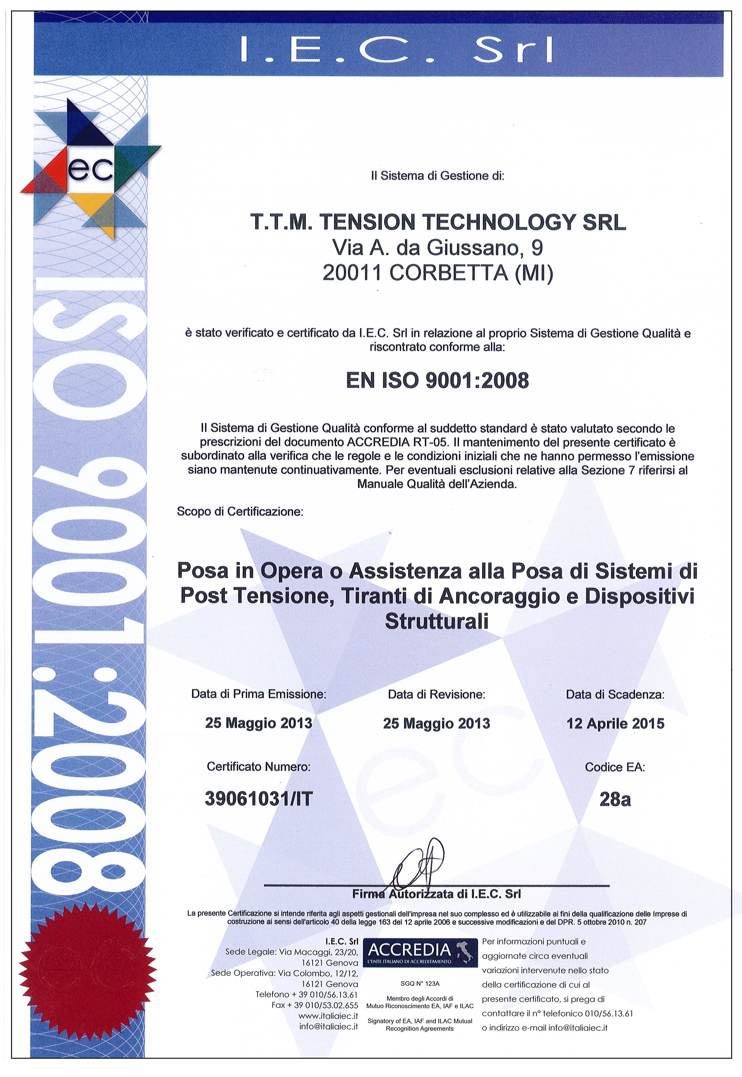ISO 9001 POSA IN OPERA
