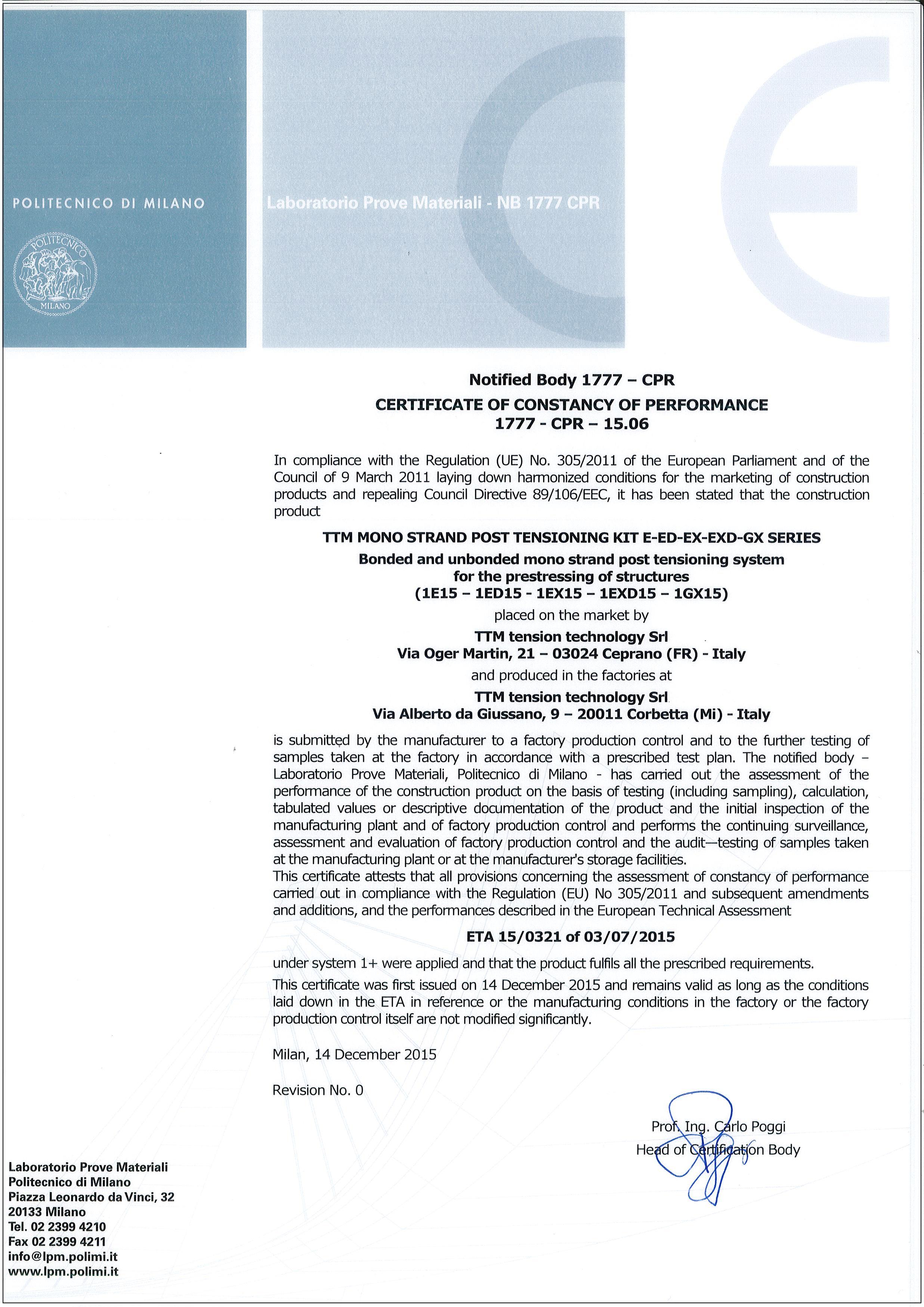 Certificazione CE 1777-CPR-15-06 (ETA 15-0321)
