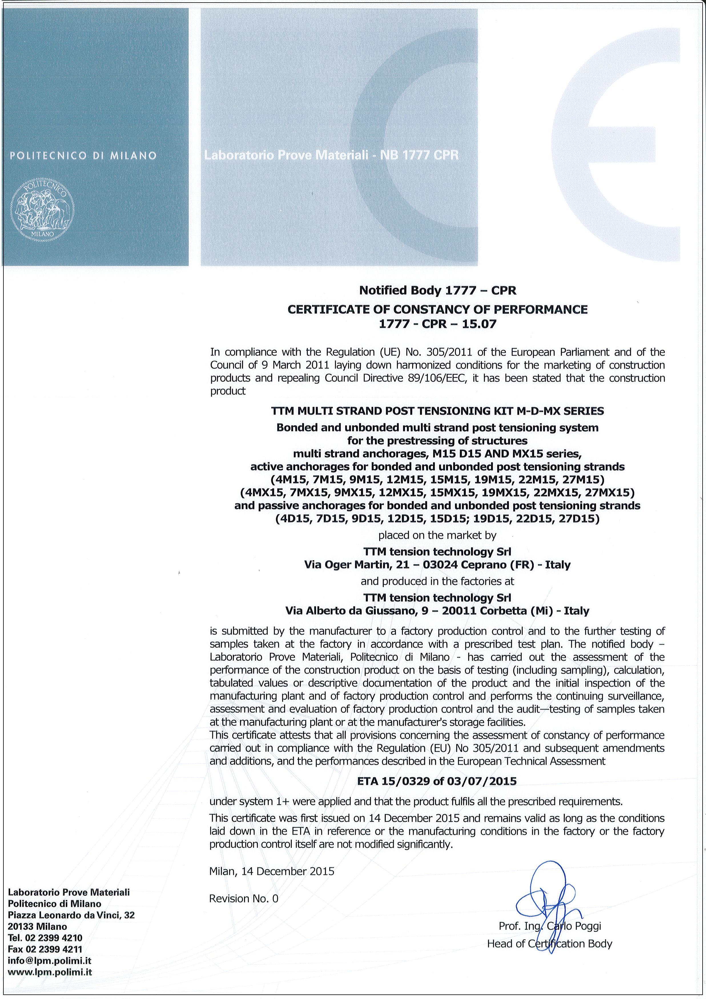 Certificazione CE 1777-CPR-15-07 (ETA 15-0329)